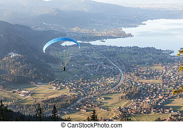 Paragliding at lake tegernsee