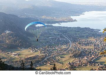 Paragliding  at lake tegernsee