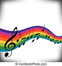 rainbow music - A musical score with a rainbow motif and...