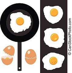 vector collection of cracked eggs, fried eggs and frying pan