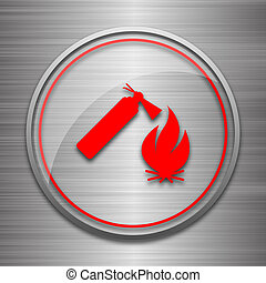 Fire icon Internet button on metallic background