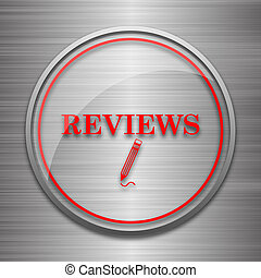Reviews icon. Internet button on metallic background.