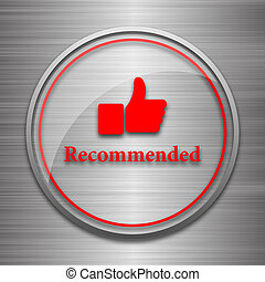 Recommended icon Internet button on metallic background