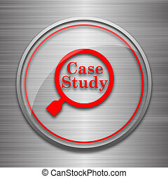 Case study icon Internet button on metallic background