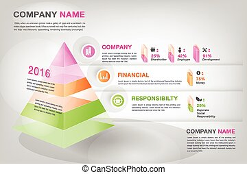 modern 3d pyramid graph infographic in vector eps10 to...