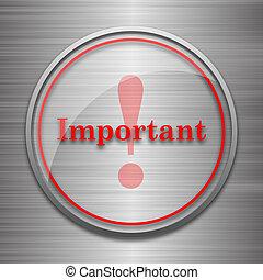Important icon Internet button on metallic background