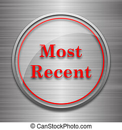 Most recent icon Internet button on metallic background