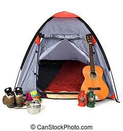 tent at the campground - Leisure objects with tent at the...