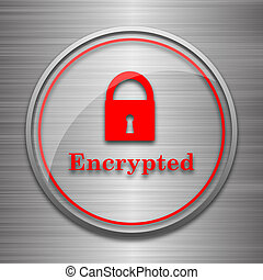 Encrypted icon Internet button on metallic background