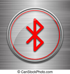 Bluetooth icon Internet button on metallic background