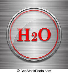 H2O icon Internet button on metallic background