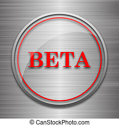 Beta icon Internet button on metallic background