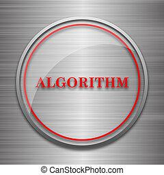 Algorithm icon Internet button on metallic background