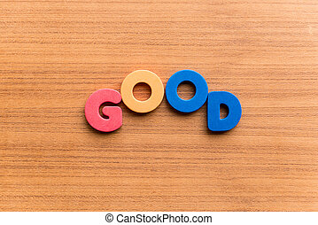good colorful word on the wooden background