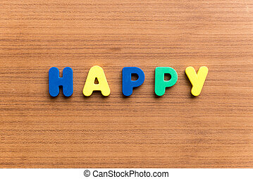 happy colorful word on the wooden background