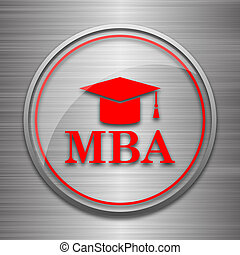 MBA icon Internet button on metallic background