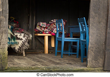 Barn with floral blankets made from