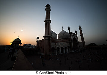 Sunset in the Jama Masjiid, Delhi, India - The sunset in the...