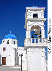 Santorini imerovigli Church - A view of a blue domed church...