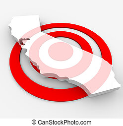Target California - Marketing Concept - A red bulls-eye with...