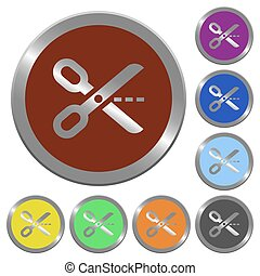Color cut out buttons - Set of glossy coin-like color cut...