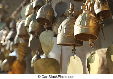 Buddhist bells with wishes
