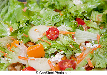 tossed salad - bowl of traditional mixed tossed salad with...