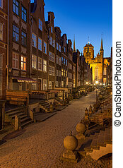 Famous street at night - Mariacka street in Gdansk Old Town,...
