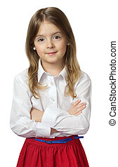 Cute child girl standing in white shirt & red skirt isolated on white.