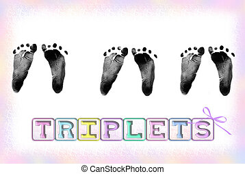 Triple Prints - Triplet baby footprints with pastel border...