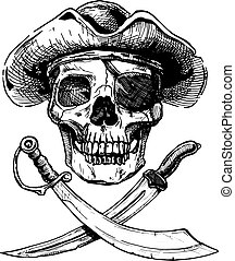 Black and white pirate skull with cross swords. - Vector...