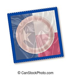 Texas State Flag Condom - A condom with a Texas state flag...
