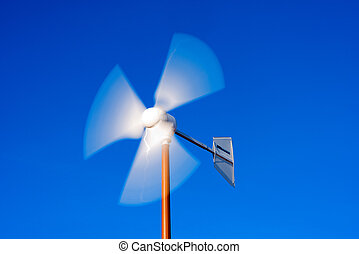 Detail of Wind Turbine - Close up of a wind turbine with...