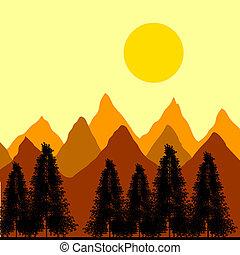 abete, montagne, albero