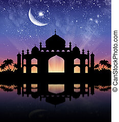 Silhouette of the town hall - Concept of Islamic...