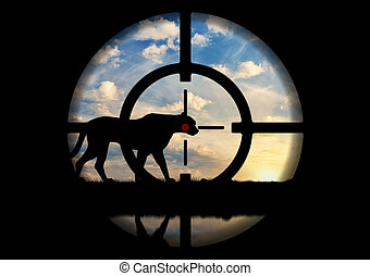 Leopard gunpoint poacher - Poaching. Silhouette of a leopard...