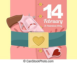 14 February. Valentines day. Military clothing and a strap with buckle. Gold heart belt buckle. Arms of love. Army of love. Gun loaded hearts. Love gun