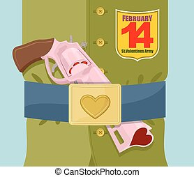 Valentines day. Love gun.  Military clothing and strap with buckle. Gold heart belt buckle. Arms of love. Army of love. Gun loaded hearts. 14 February.