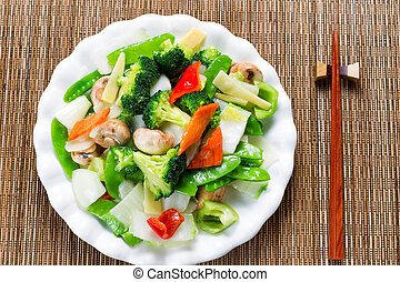 Healthy steamed mixed vegetables ready to eat - Top view of...