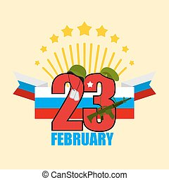 23 February. Greeting card. Soldiers helmet and green beret. Machines guns and military badge. Salute, Fireworks. flag of Russia. Traditional Russian holiday. Day of defenders of  fatherland. Patriotic event for military. Dispatch from russian:  23 February.