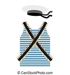 Striped vest shirt-clothing sailor man. Tape with bullets. Cartridge belt bandoleer. Peakless Hat Cap Russian sailor man. Set of clothes and gear of the Soviet revolutionary sailor.