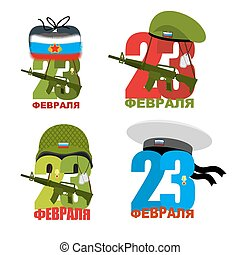 Set logo for 23 February Figures in soldiers helmets Green...