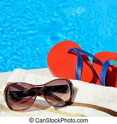 gafas de sol, playa, toalla, y, Cambia de dirección, por,...