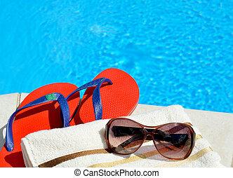 gafas de sol, playa, toalla, y, Cambia de dirección,...
