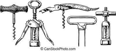 Vector illustration set of corkscrews - Vector hand drawn...