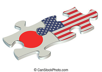USA and Japan puzzles from flags