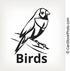 Vector black bird icon logo illustration
