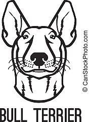 Bull terrier. Vector black icon logo illustration