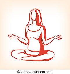 Woman sitting in yoga lotus