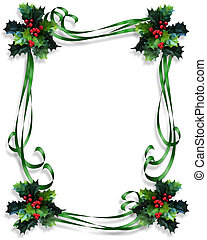 Christmas Holly Border ribbons - Image and Illustration...
